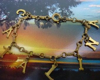 CATALINA ISLAND Antique name VINTAGE Souvenir Charm  Bracelet