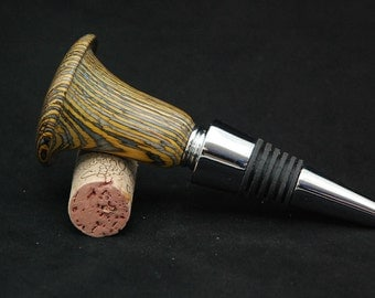 Wine Bottle Stopper and Cork Screw- Yellow and Blue Colorwood