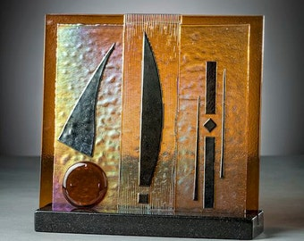 Art Glass Sculpture Fused Iridescent Amber Glass Perfect For Your Home or Office Artist Signed