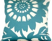 SALE Duralee Turquoise Sunflower Pillow Cover 20x20, 22x22, 24x24