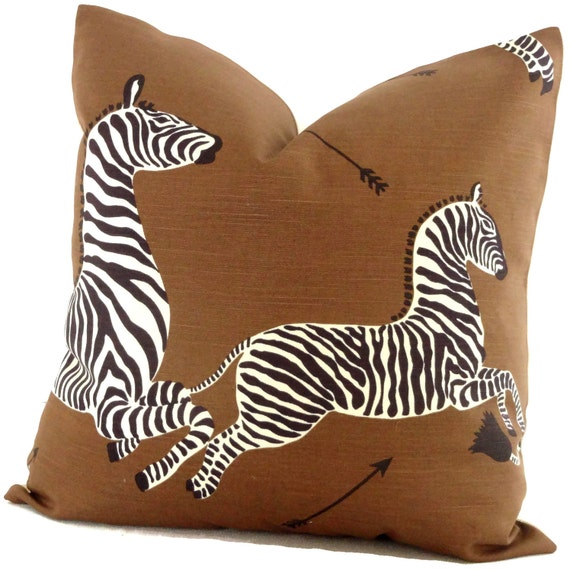 Zebra Decorative Pillows : Brown Scalamandre Zebra Decorative Pillow Cover Square