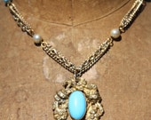 Vintage One of a Kind Necklace Turquoise Assemblage Sassy Sisters Jewelry