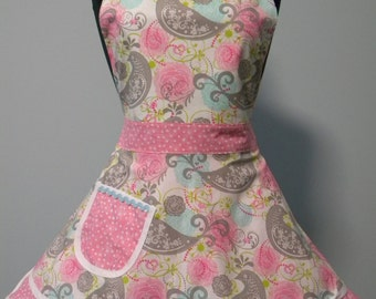Womens Apron-Gray Birds and Pink Flowers Double Skirt Sweetheart Apron