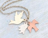 Fly Away Necklace - 3 Birds Pendants on a Chain