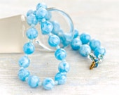 Blue Marbles beads Necklace - Vintage Short Nautical Necklace - Summer Jewelry