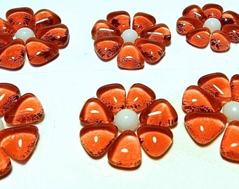 Glass Flowers For Mosaics, Jewelry, Magnets or other Embellishments 6 Flowers  (P206)