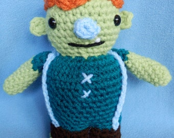 Made to order, Hand crocheted Wallykazam Similar Ogre Doug like monster Amigurumi Doll