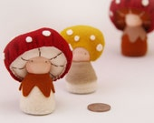 Waldorf style felt toadstool mushroom dolls, Ornament, natural toys, nature table, Eco-Friendly natural wool felt toys, felt mushrooms
