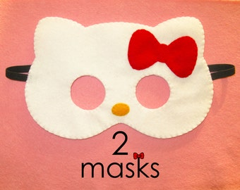 2 white felt cat masks party pack - handmade kids kitty party favors - pretend play accessory - Birthday party favors Handmade gift for girl