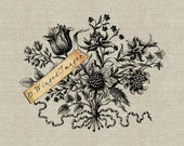 Baroque Bouquet Flowers. Instant Download Digital Image No.215 Iron-On Transfer to Fabric (burlap, linen) Paper Prints (cards, tags)