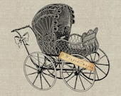 Antique Wicker Baby Carriage. Instant Download Digital Image No.211 Iron-On Transfer to Fabric (burlap, linen) Paper Prints (cards, tags)