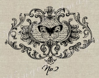 Butterfly Vintage Ornate Frame Instant Download Digital Image No.67 Iron-On Transfer to Fabric (burlap, linen) Paper Prints (cards, tags)
