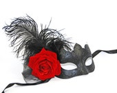 Black Masquerade Mask with Red Rose - Costume Ball Mask -  Black & Red Mask - Party Mask - Feather Mask  - Mardi Gras Mask - Prom
