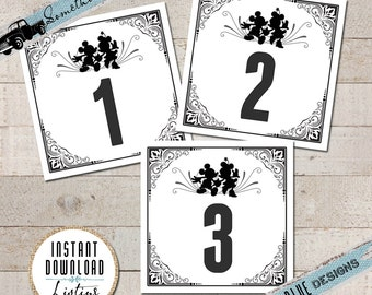 Disney Inspired Table Numbers - You Print