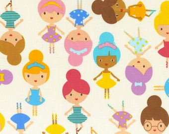 Anne Kelle Girl friends Fabric , Ballerinas in Sweet for Robert Kaufman (1 yard) BUY MORE & SAVE