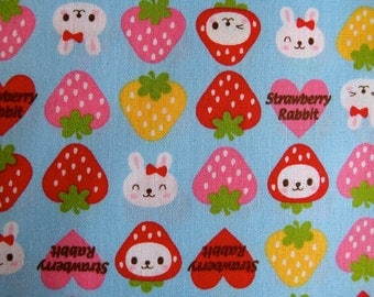 NEW Westex Strawberry Rabbit  Kawaii Japanese Fabric in Blue (Half Yard)