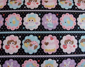 Kokka Sweet Tooth Kawaii Fabric in Black (Half Yard)