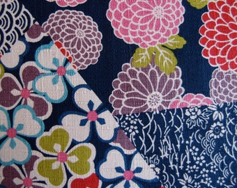 NEW Japanese Flower Fabric in Navy by Cosmo  (HALF Yard)