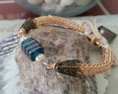 Viking weave 14K gold vermeil bracelet with silver and art glass bead