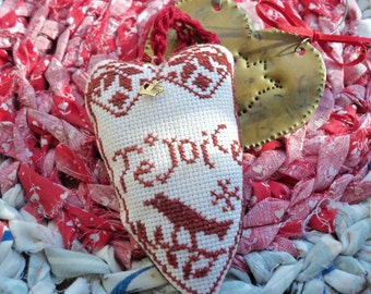 Redwork Cross Stitch Primitive Heart Crow  Christmas Ornie Easter Decor