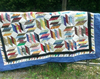 Windy Blue Scrap Quilt for Double Bed