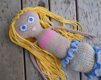 Custom hand knit mermaid doll, made to order, you choose skin, hair, tail, eye color - for kids or adults!