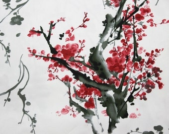 gorgeous chinese ink painting red plum blossom pattern white background cotton fabric by yard