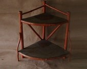 Victorian Bamboo Shelf -  Chippy Orange Paint-  Vintage Cottage