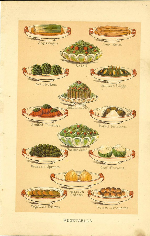 Antique 1900 S Culinary Print Food Print Mrs Beeton