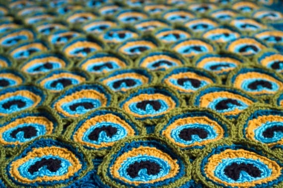 Peacock Pretty Blanket / Afghan / Throw Crochet Pattern