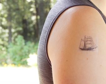 Temporary Tattoo - Ship Tattoo - Pirate Ship Tattoo