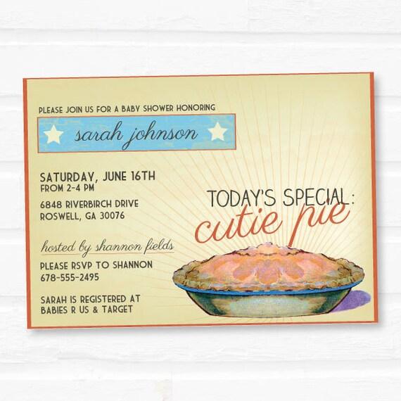 Baby shower invitation - Vintage inspired Cutie Pie Baby shower invite