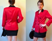 80s red wool black velvet double breasted fitted blazer 40