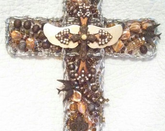 Christian Crucifix  Beaded Wall Cross  Wall Cross  Wall Art