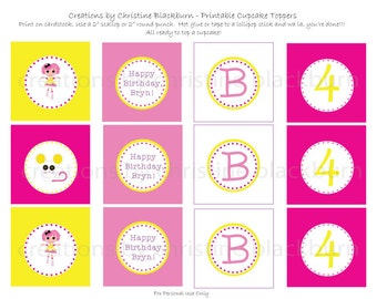 Lalaloopsy - Crumbs Sugar Cookie Personalized Party Printable Cupcake Toppers (Digital File)