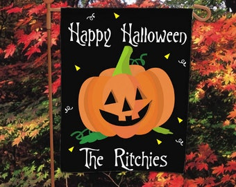 Happy Halloween Personalized Garden Flag, Halloween Decor, Jack Ou0027lantern, Halloween  Garden