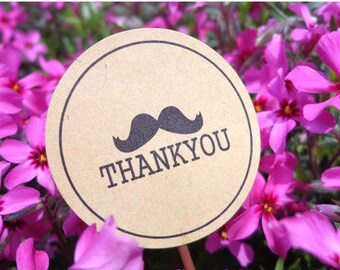 Round Kraft Seal Sticker, Cute Mustache 'Thank you' Sticker, Kraft Paper 120 stickers