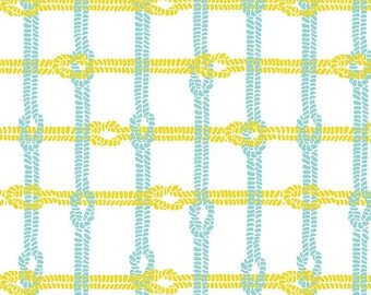04336 -  Riley Blake  Maritime Modern  collection C3294 Knotty plaid in citron color - 1 yard