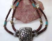 Petroglyph Serpent Shaman - Double strand necklace with Turquoise, One of a Kind