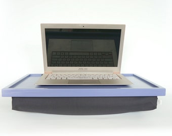 Home office furniture- Laptop Lap Desk or Breakfast serving Tray- light slate blue with Grey Pillow