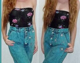 VTG 80s Blue Punk Studded ACID WASH High Waist New Wave Hipster Pants Jeans S