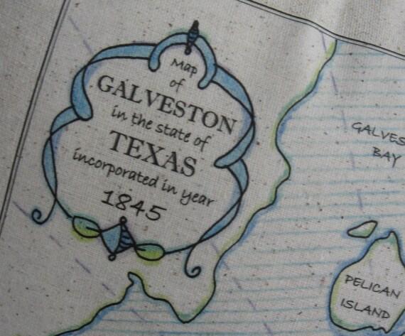 Items Similar To Texas Antique Map: Items Similar To Galveston Texas Vintage Map Pillow