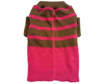 Small Designer Dog Sweater, Pink and Brown Striped Pet Clothes ,Puppy Boutique