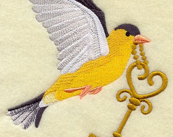 Bird with Skeleton Key Embroidered Flour Sack Hand/Dish Towel