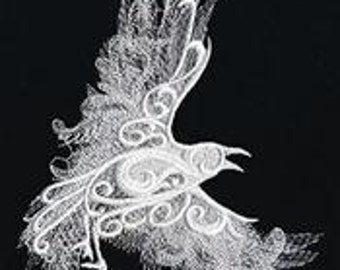 RESERVED for Ideasis- 2x Ghost Baroque Raven Embroidered Hand Towels and 2x Bath towels