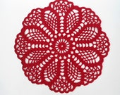"""Round crochet doily , red doily , lace , 8 """""""