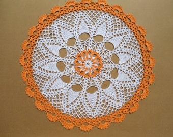 White and orange crochet doily doily , round doily , lace doily