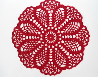 Round crochet doily , red doily , lace , 8 ""