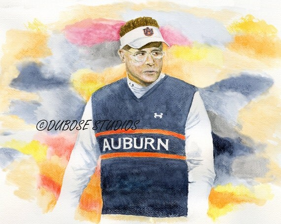 Prowling the Sideline. Print of a Watercolor painting of the Auburn Coach by Frank DuBose