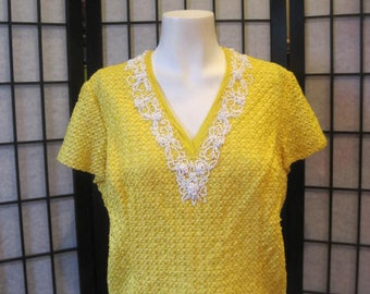 SALE Vintage 1960s Ribbon Blouse Yellow with White Beads Fitted Top Dressy Shirt Party Holiday Evening Formal 38 L XL